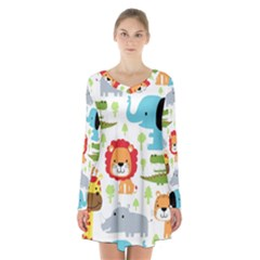 Seamless Pattern Vector With Animals Cartoon Long Sleeve Velvet V-neck Dress