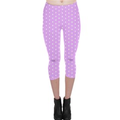 White Polka Dot Pastel Purple Background, Pink Color Vintage Dotted Pattern Capri Leggings  by Casemiro
