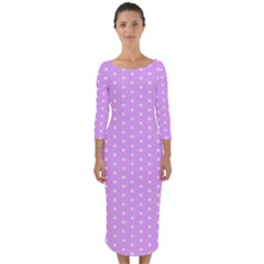 White Polka Dot Pastel Purple Background, Pink Color Vintage Dotted Pattern Quarter Sleeve Midi Bodycon Dress