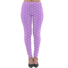 White Polka Dot Pastel Purple Background, Pink Color Vintage Dotted Pattern Lightweight Velour Leggings