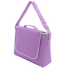 White Polka Dot Pastel Purple Background, Pink Color Vintage Dotted Pattern Box Up Messenger Bag