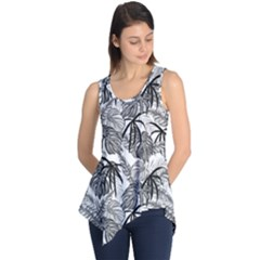 Black And White Leafs Pattern, Tropical Jungle, Nature Themed Sleeveless Tunic