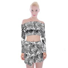 Black And White Leafs Pattern, Tropical Jungle, Nature Themed Off Shoulder Top With Mini Skirt Set