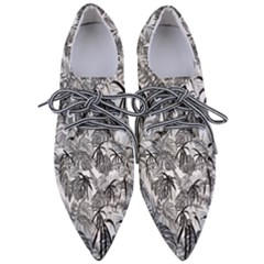 Black And White Leafs Pattern, Tropical Jungle, Nature Themed Pointed Oxford Shoes