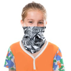 Black And White Leafs Pattern, Tropical Jungle, Nature Themed Face Covering Bandana (kids)