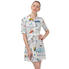 Cute Children Seamless Pattern With Cars Road Park Houses White Background Illustration Town Cartoon Belted Shirt Dress by Bejoart