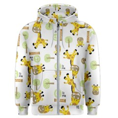 Vector Pattern With Cute Giraffe Cartoon Men s Zipper Hoodie