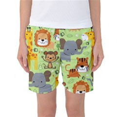 Seamless Pattern Vector With Animals Wildlife Cartoon Women s Basketball Shorts