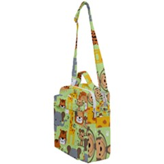 Seamless Pattern Vector With Animals Wildlife Cartoon Crossbody Day Bag