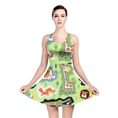Seamless Pattern With Wildlife Animals Cartoon Reversible Skater Dress