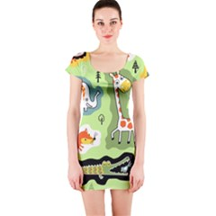 Seamless Pattern With Wildlife Animals Cartoon Short Sleeve Bodycon Dress