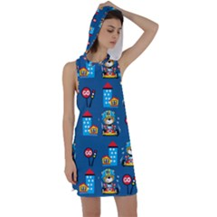 Racing Car Printing Set Cartoon Vector Pattern Racer Back Hoodie Dress
