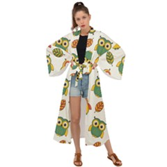 Background With Owls Leaves Pattern Maxi Kimono