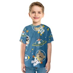 Seamless Pattern Funny Astronaut Outer Space Transportation Kids  Sport Mesh Tee