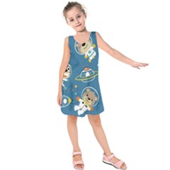 Seamless Pattern Funny Astronaut Outer Space Transportation Kids  Sleeveless Dress by Bejoart