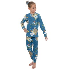 Seamless Pattern Funny Astronaut Outer Space Transportation Kids  Long Sleeve Set