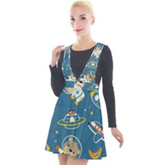 Seamless Pattern Funny Astronaut Outer Space Transportation Plunge Pinafore Velour Dress