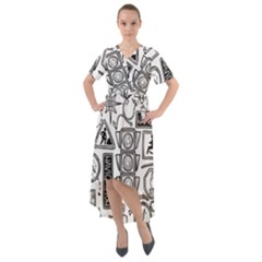 Navigation Seamless Pattern Front Wrap High Low Dress by Bejoart