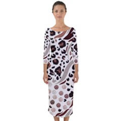 Mix Animal Skin Prints Seamless Pattern Vector Quarter Sleeve Midi Bodycon Dress
