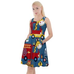 Seamless Pattern Vehicles Cartoon With Funny Drivers Knee Length Skater Dress With Pockets