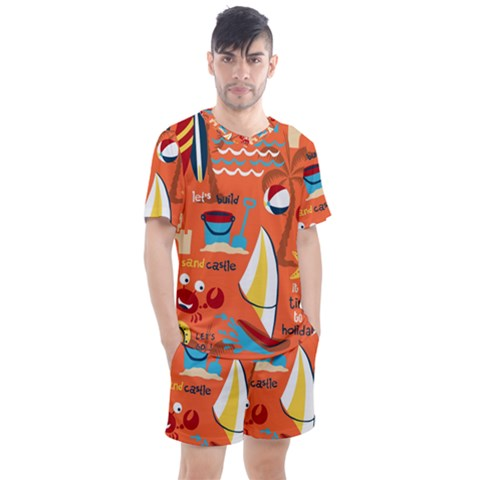 Seamless Pattern Vector Beach Holiday Theme Set Men s Mesh Tee And Shorts Set by Bejoart