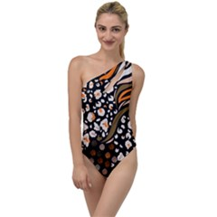 Trendy Mix Animal Skin Prints To One Side Swimsuit by Bejoart