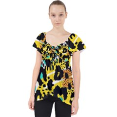 Seamless Leopard Wild Pattern Animal Print Lace Front Dolly Top