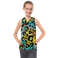 Seamless Leopard Wild Pattern Animal Print Kids  Sleeveless Hoodie