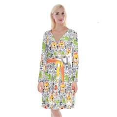 Seamless Pattern With Wildlife Cartoon Long Sleeve Velvet Front Wrap Dress