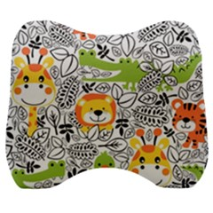 Seamless Pattern With Wildlife Cartoon Velour Head Support Cushion