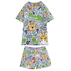 Seamless Pattern With Wildlife Cartoon Kids  Swim Tee And Shorts Set by Bejoart