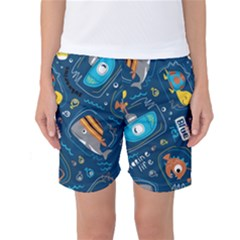 Seamless Pattern Vector Submarine With Sea Animals Cartoon Women s Basketball Shorts