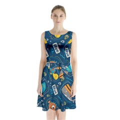 Seamless Pattern Vector Submarine With Sea Animals Cartoon Sleeveless Waist Tie Chiffon Dress by Bejoart