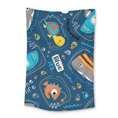 Seamless Pattern Vector Submarine With Sea Animals Cartoon Small Tapestry