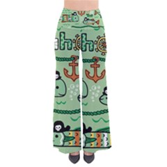 Seamless Pattern Fishes Pirates Cartoon So Vintage Palazzo Pants