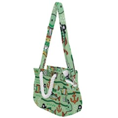 Seamless Pattern Fishes Pirates Cartoon Rope Handles Shoulder Strap Bag