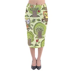 Seamless Pattern With Trees Owls Velvet Midi Pencil Skirt