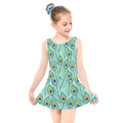 Lovely Peacock Feather Pattern With Flat Design Kids  Skater Dress Swimsuit by Bejoart