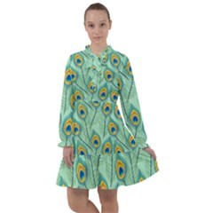 Lovely Peacock Feather Pattern With Flat Design All Frills Chiffon Dress by Bejoart
