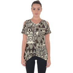 Four Hand Drawn City Patterns Cut Out Side Drop Tee by Bejoart
