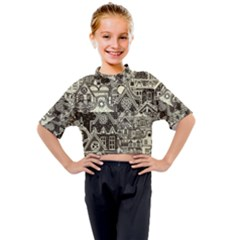 Four Hand Drawn City Patterns Kids Mock Neck Tee