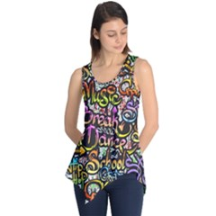 Graffiti Word Seamless Pattern Sleeveless Tunic