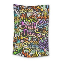 Graffiti Word Seamless Pattern Small Tapestry