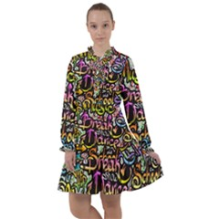 Graffiti Word Seamless Pattern All Frills Chiffon Dress