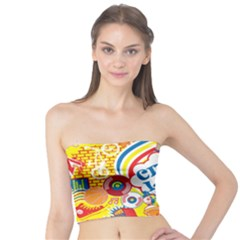 Colorful City Life Horizontal Seamless Pattern Urban City Tube Top by Bejoart