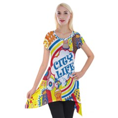 Colorful City Life Horizontal Seamless Pattern Urban City Short Sleeve Side Drop Tunic by Bejoart