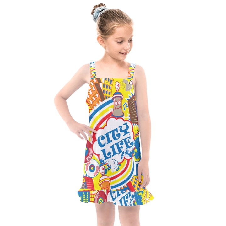 Colorful city life horizontal seamless pattern urban city Kids  Overall Dress