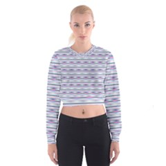 Pastel Lines, Bars Pattern, Pink, Light Blue, Purple Colors Cropped Sweatshirt