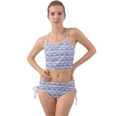 Pastel Lines, Bars Pattern, Pink, Light Blue, Purple Colors Mini Tank Bikini Set by Casemiro