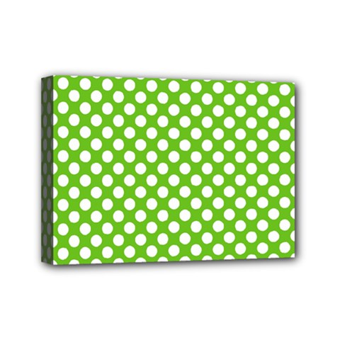 Pastel Green Lemon, White Polka Dots Pattern, Classic, Retro Style Mini Canvas 7  X 5  (stretched) by Casemiro